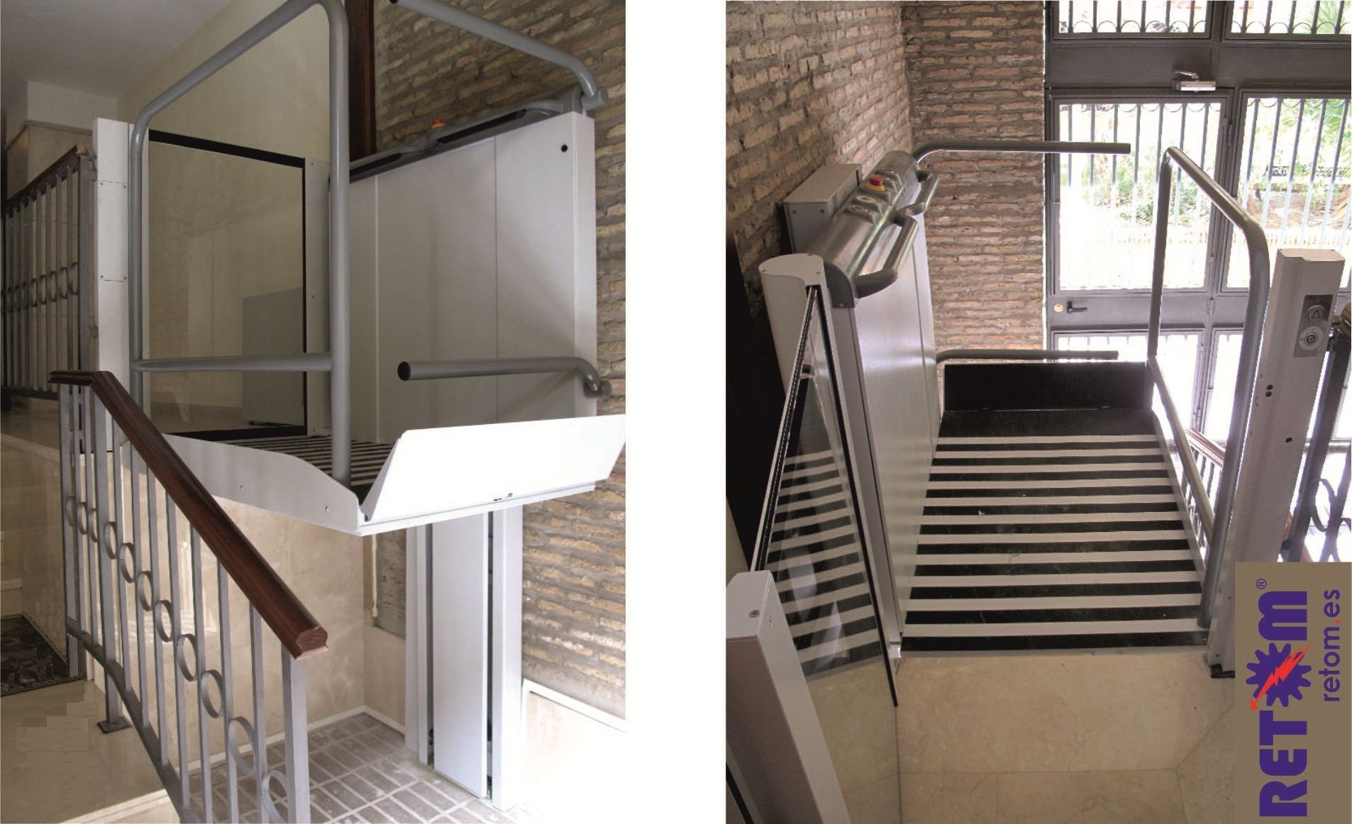 Plataforma elevadora vertical para silla de ruedas sin for Salvaescaleras vertical